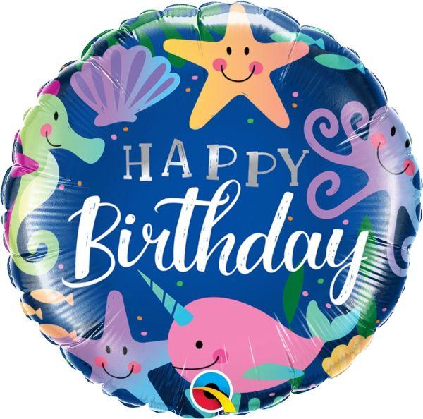 "Geburtstagsballon ""Happy Birthday"" Meerestiere 45cm"
