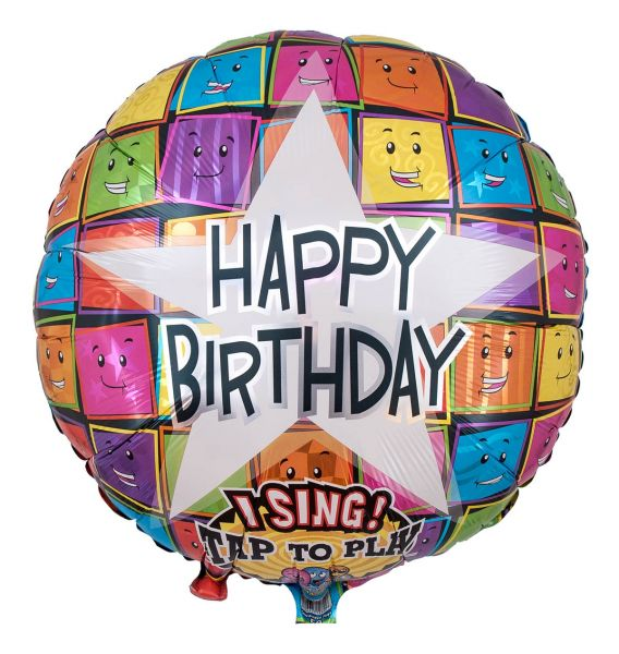 Singender Ballon Eckige Happy Birthday Smileys 71cm