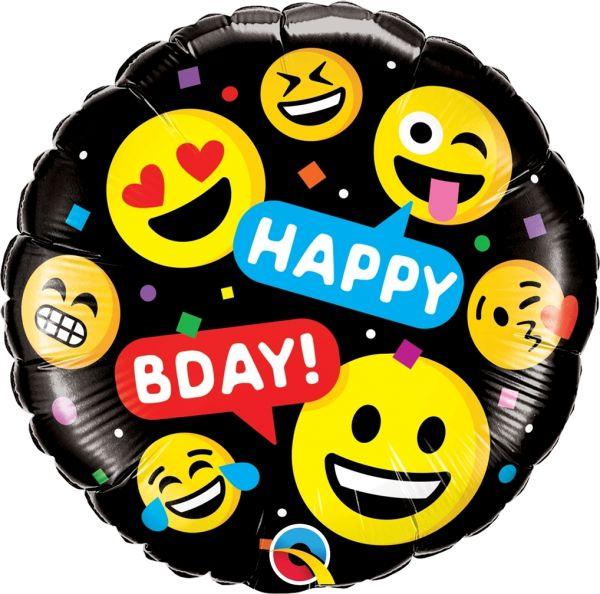 Qualatex Folienballon Happy Bday Emojis 45cm