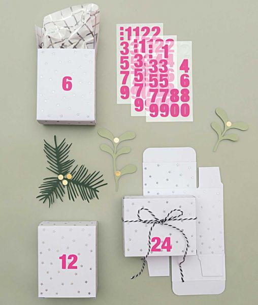 Adventkalender Boxen - Weiß / Irisierend