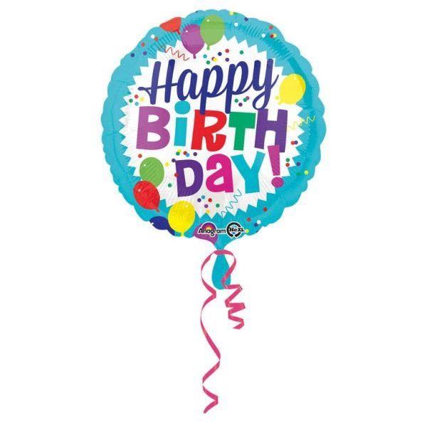 Folienballon Happy Birthday mit Ballons 45cm