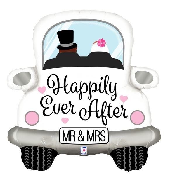 Folienballon Hochzeitsauto Mr & Mrs Happily Ever After 79 cm