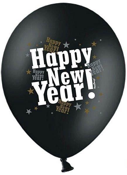 Latexballon Happy New Year Schwarz Ø 30cm