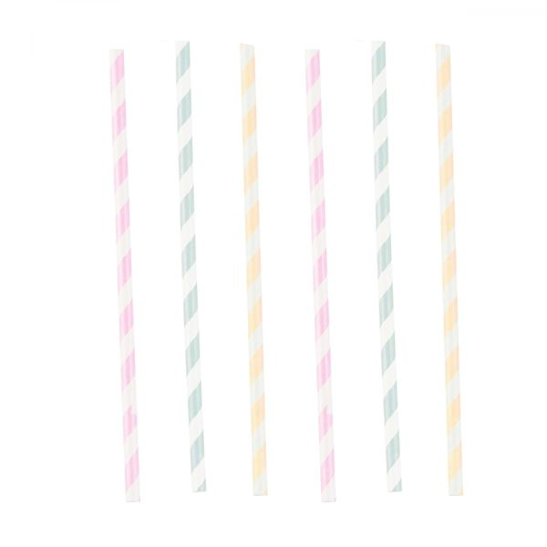 Happy Birthday Pastell - 12 Papier-Strohhalme