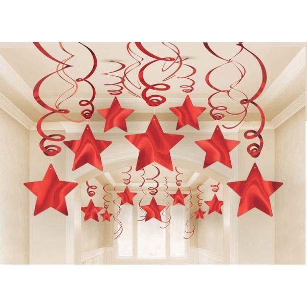 15 Swirl Sterne Rot Hängedekoration