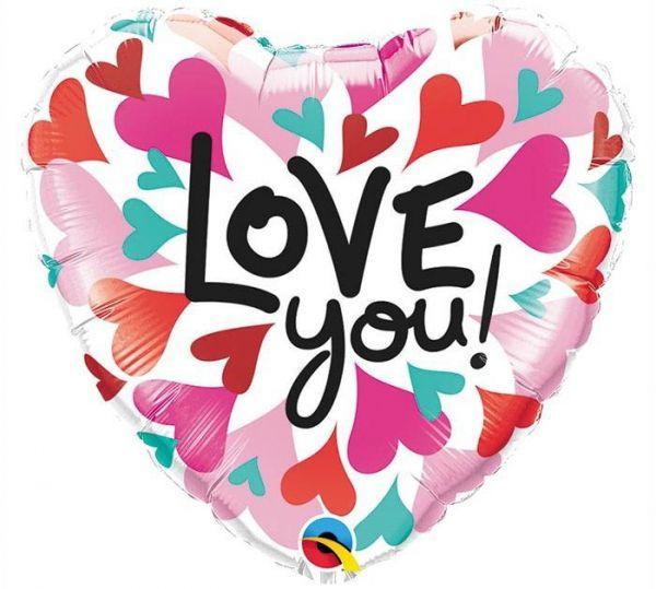 Folienballon Herz Love You Zusammenlaufende Herzen 45cm