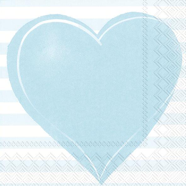 "20 Papierservietten ""großes Herz"" hellblau"