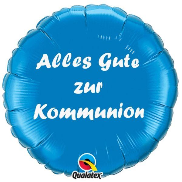 Folienballon Alles Gute zur Kommunion Blau 45cm