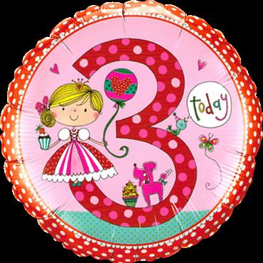"Folienballon Prinzessin ""3"" 45cm"