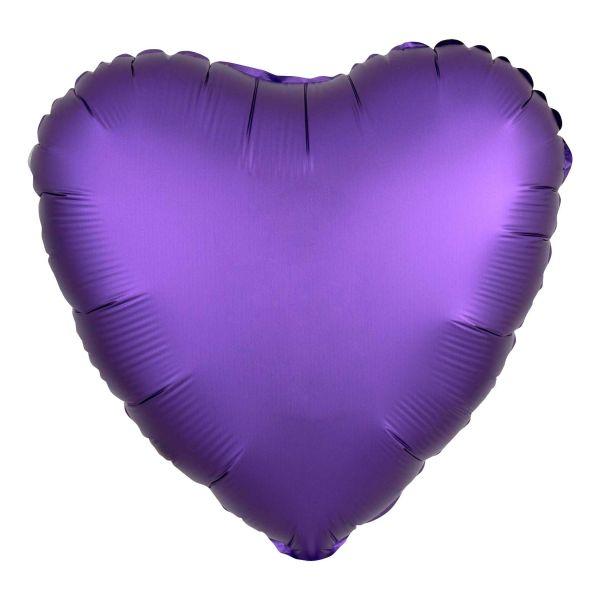 Folienballon Herz Satin Royal Violett 45cm