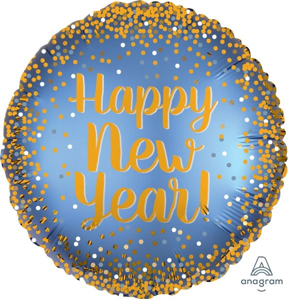 "Silvesterballon Satin Gold & Blau ""Happy New Year"""