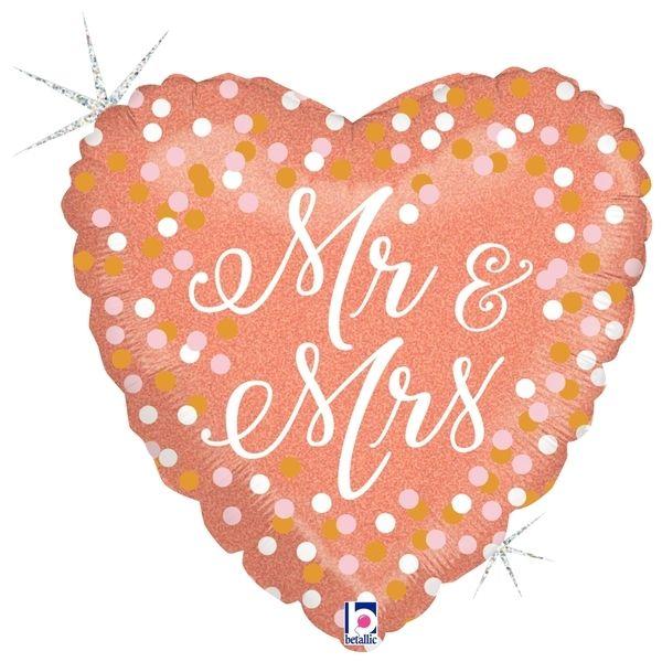 """Folienballon Herz zur Hochzeit """"Mr & Mrs"""" Holo-Roségold 45cm"""