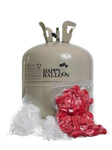 50er Ballonset: 50 rote Herzballons (25 cm) und Bänder mit Helium Einweg-Flasche