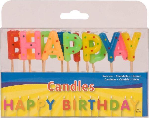 Kerzen-Set Happy Birthday Bunt mit Punkten