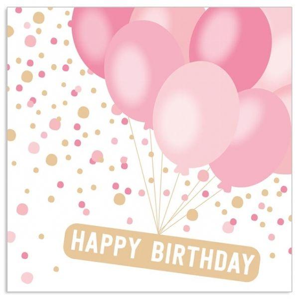20 Geburtstags-Servietten mit Ballons Rosé & Gold