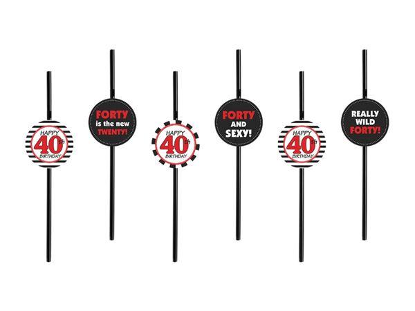 6 Strohhalme zum 40. Geburtstag
