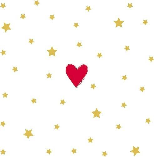 20 Servietten mit Herzchen und goldenen Sternen