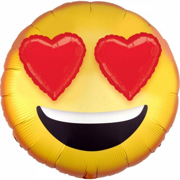 Folienballon Emoji 3-D Herzaugen 71cm