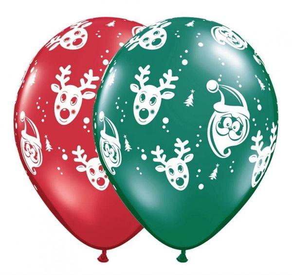 Qualatex Latexballon Santa & Rudolph Ø 30cm