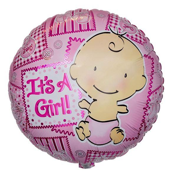 Folienballon It's a Girl Knöpfe 45 cm