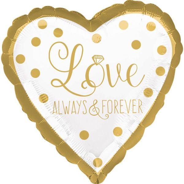 Folienballon Herz Gold Love Always & Forever 43 cm