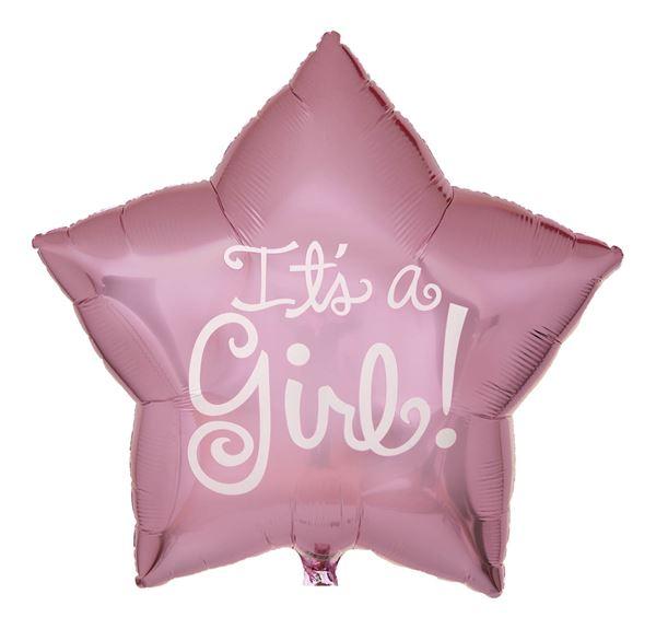 Folienballon Stern It's a Girl! 56 cm