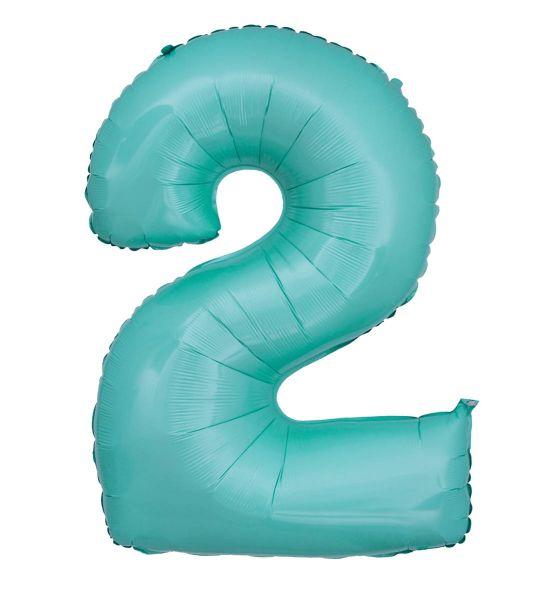 Folienballon Zahl 2 Pastell Türkis 100cm