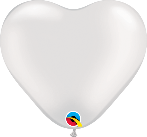 Qualatex Herzballon Pearl Weiß 15cm