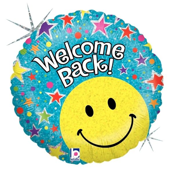 Folienballon Holographic Welcome Back Smiley 46 cm