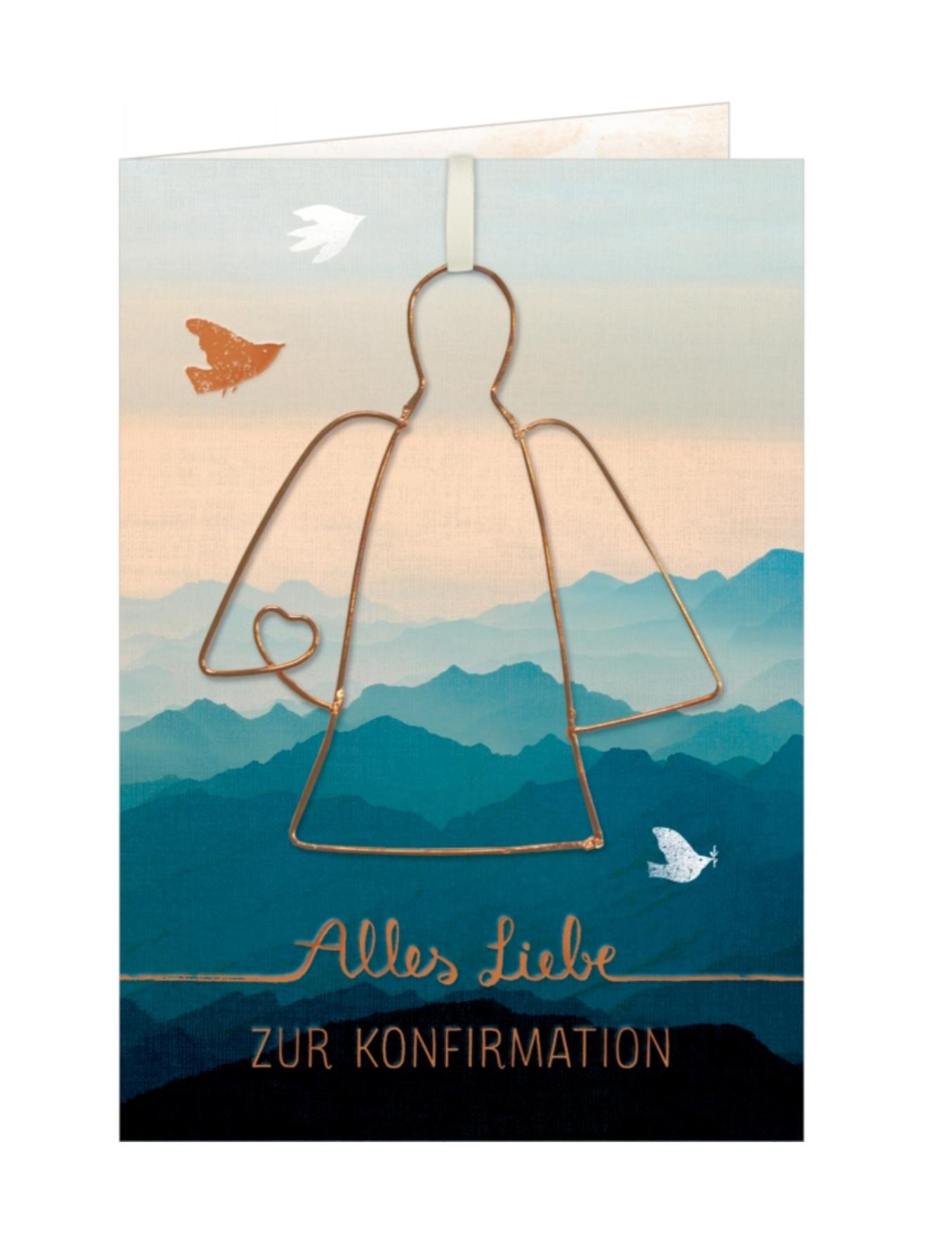 Karte Zur Konfirmation mit Drahtengel | Happy Balloon