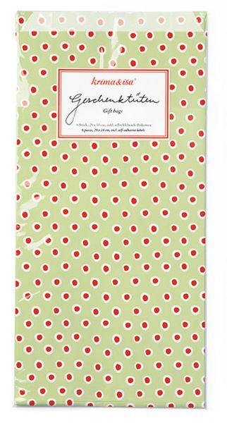 6 Papier Geschenketüten - Tupfen Grün / Rot