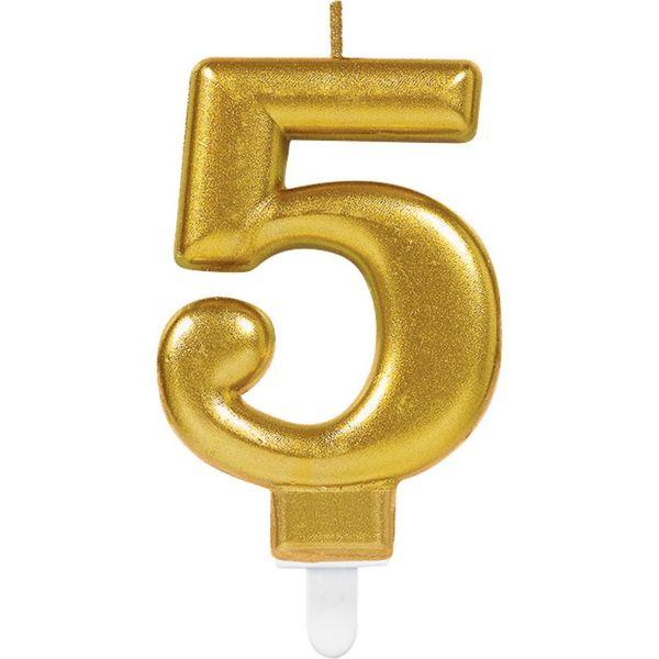 "Sparkling Celebrations Gold - Zahlenkerze ""5"""