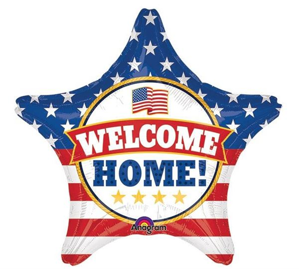 Folienballon Stern USA Welcome Home 48cm