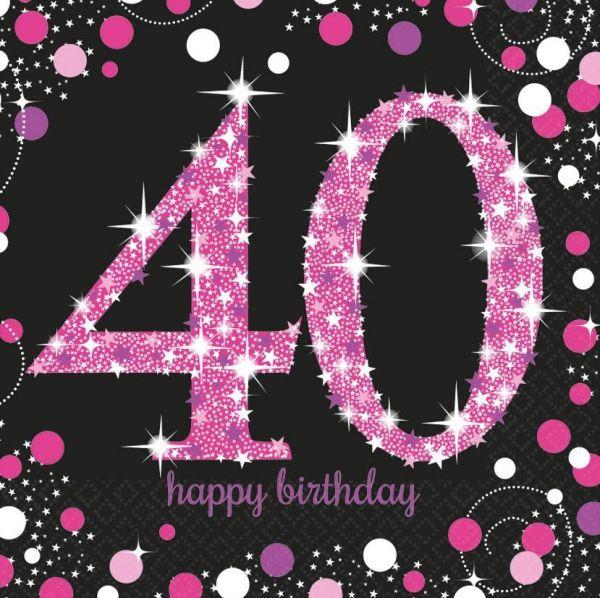 Sparkling Celebration Pink - 40. Geburtstag 16 Servietten