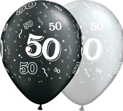 Qualatex Latexballon 50. Geburtstag Pearl Assorted Onyx Black & Silver Ø 30cm