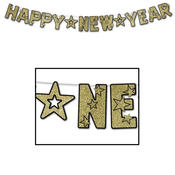 Girlande - Happy New Year Gold-Glitzer