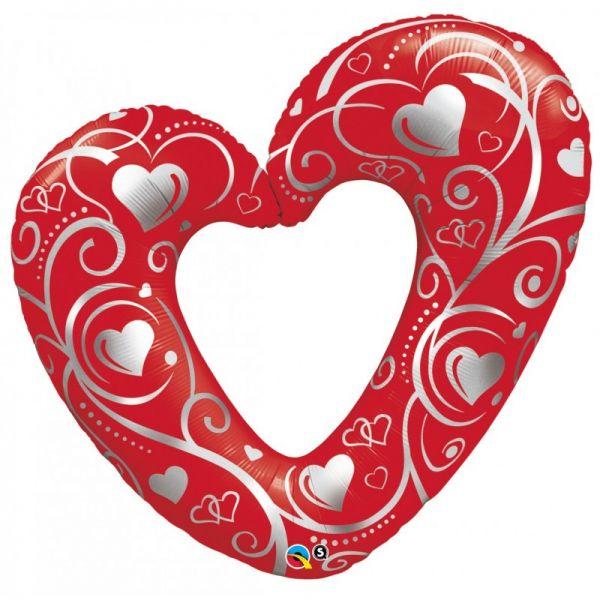 Folienballon Offenes Herz mit filigranem Muster Rot 107cm