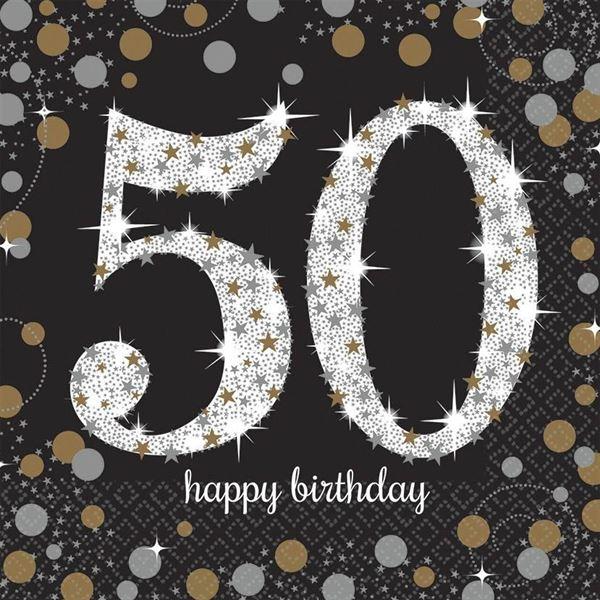 Sparkling Celebration Silber & Gold - 50. Geburtstag 16 Servietten