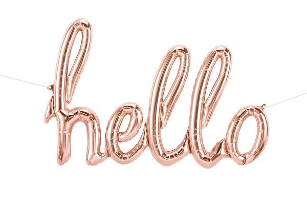 Folienballon-Girlande Script Hello Roségold