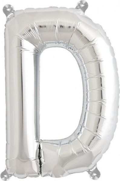 Luftballon Buchstabe D Silber 40cm