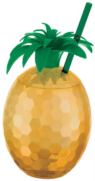 Ananas Party Vibes - Ananasbecher mit Trinkhalm