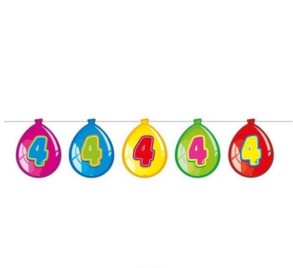 Luftballon-Wimpelkette zum 4. Geburtstag
