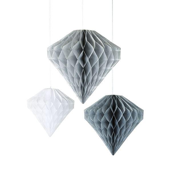 Decadent Decs - 3 Wabenball-Diamanten Weiß & Grau