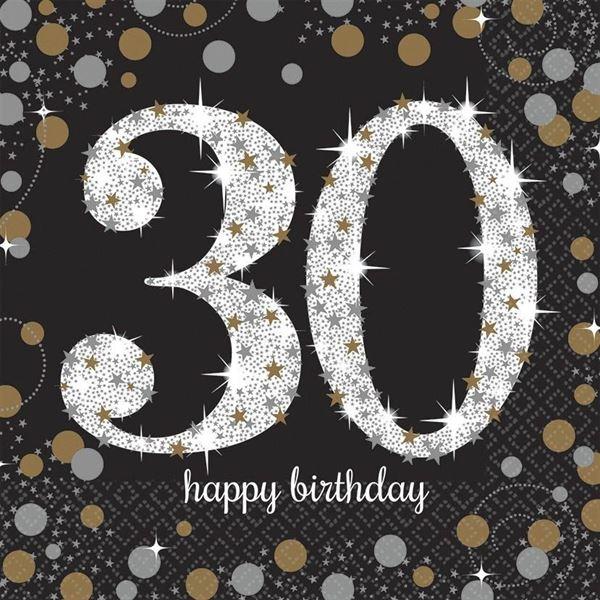 Sparkling Celebration Silber & Gold - 30. Geburtstag 16 Servietten