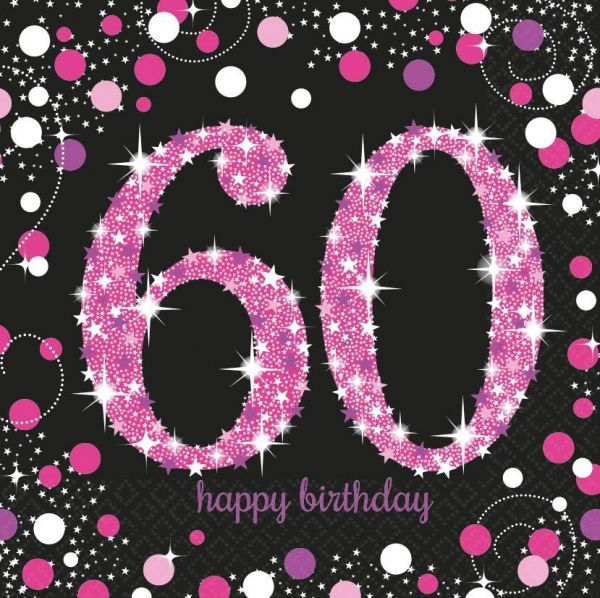 Sparkling Celebration Pink - 60. Geburtstag 16 Servietten