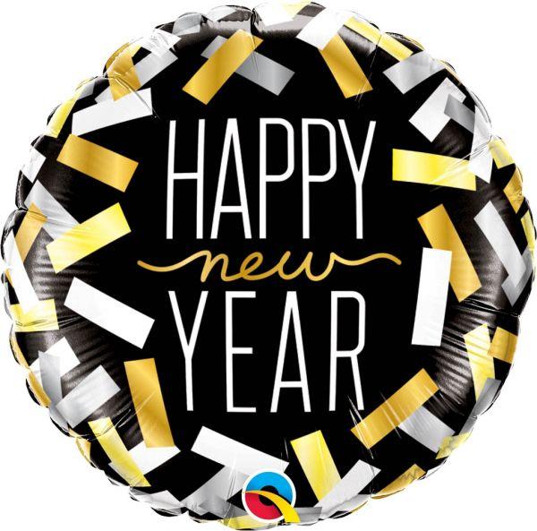 Folienballon Happy New Year Konfetti Streifen 46 cm
