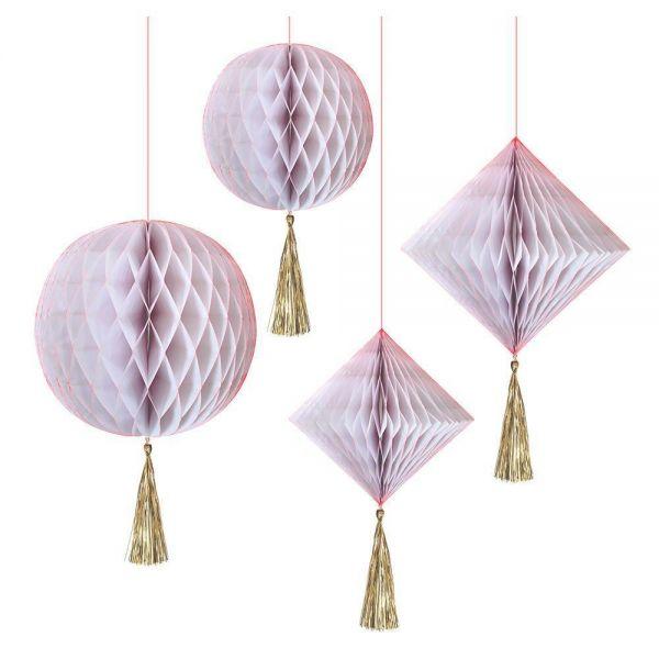 Meri Meri - 4 Wabenbälle, Weiß/Gold/Neon-Pink