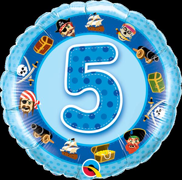 Folienballon 5. Geburtstag Piraten 45cm