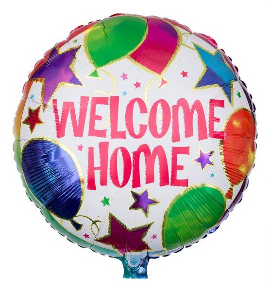 Folienballon Welcome Home mit Ballons und Sternen 43cm