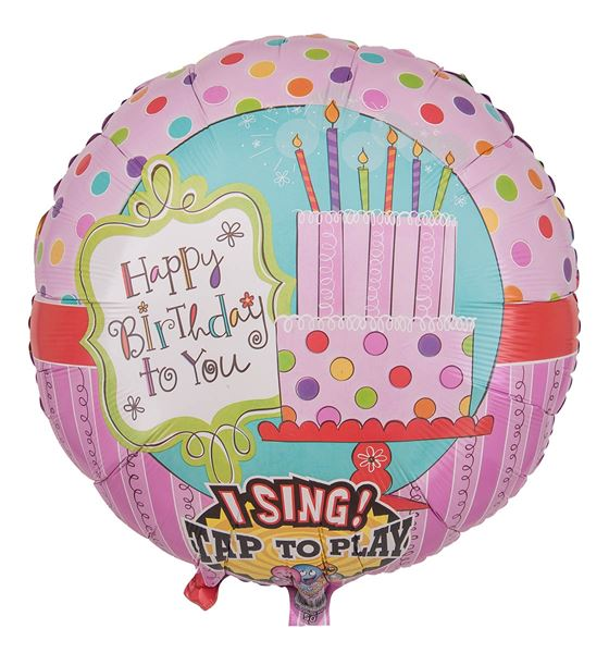 Musikballon Rosa Happy Birthday Torte 71cm